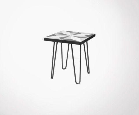 Table d'appoint avec carreaux de ciment et pieds métal noir ARROW