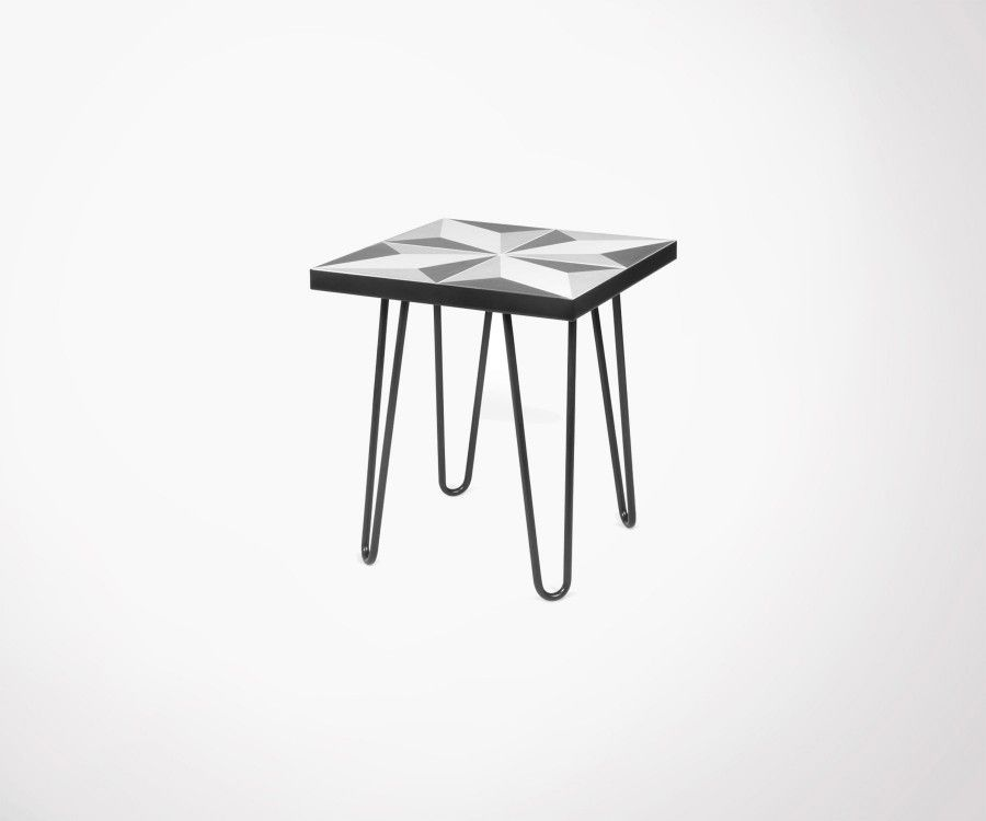 table d 39 appoint carreaux de ciment pieds m tal noir temahome. Black Bedroom Furniture Sets. Home Design Ideas