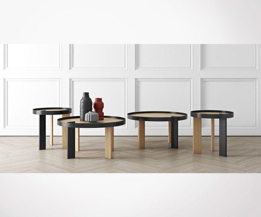 Round oak metal coffee table BRUNO - 80cm