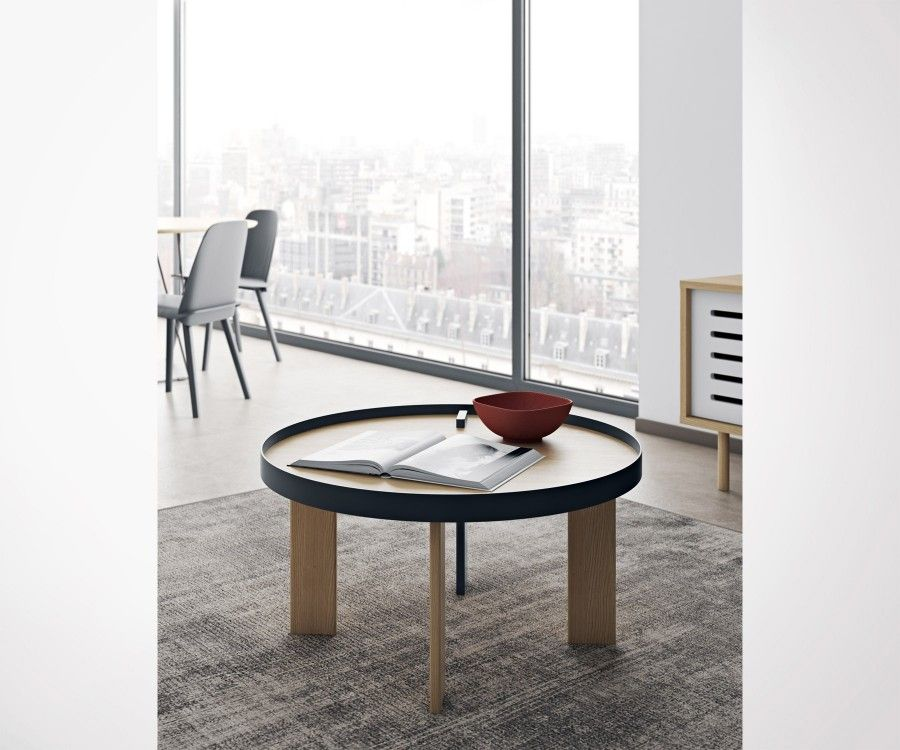 Round oak metal coffee table BRUNO - 80cm