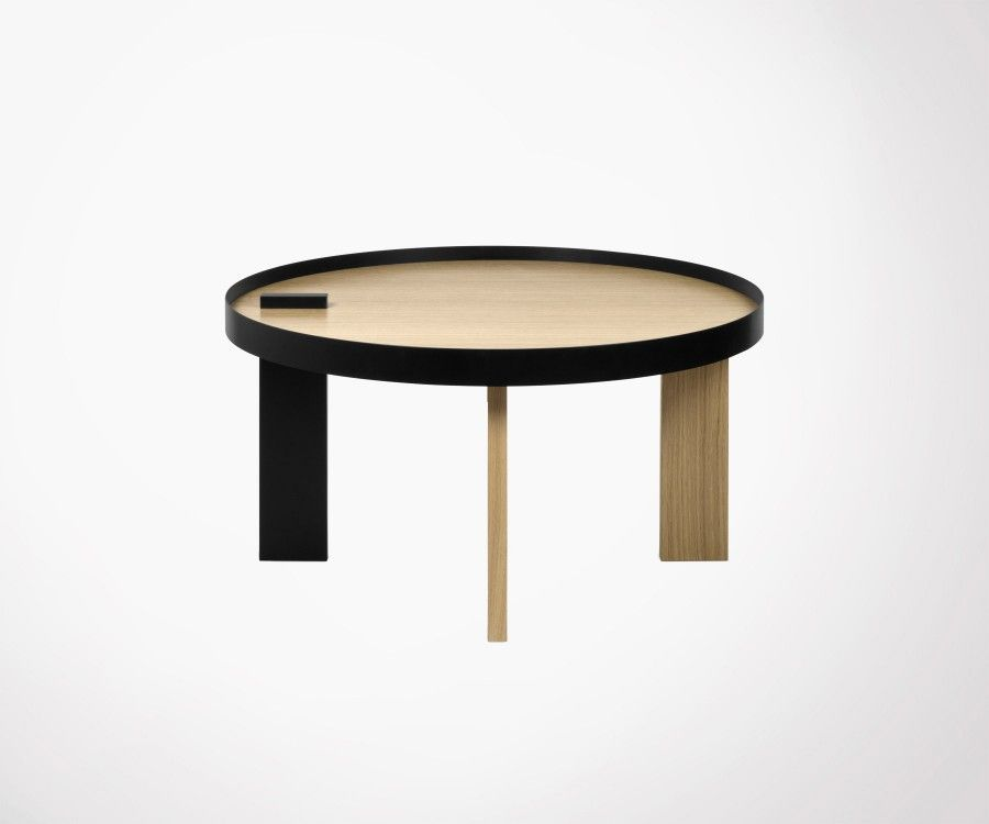 Table basse ronde ch ne naturel et m tal noir temahome for Table basse chene metal