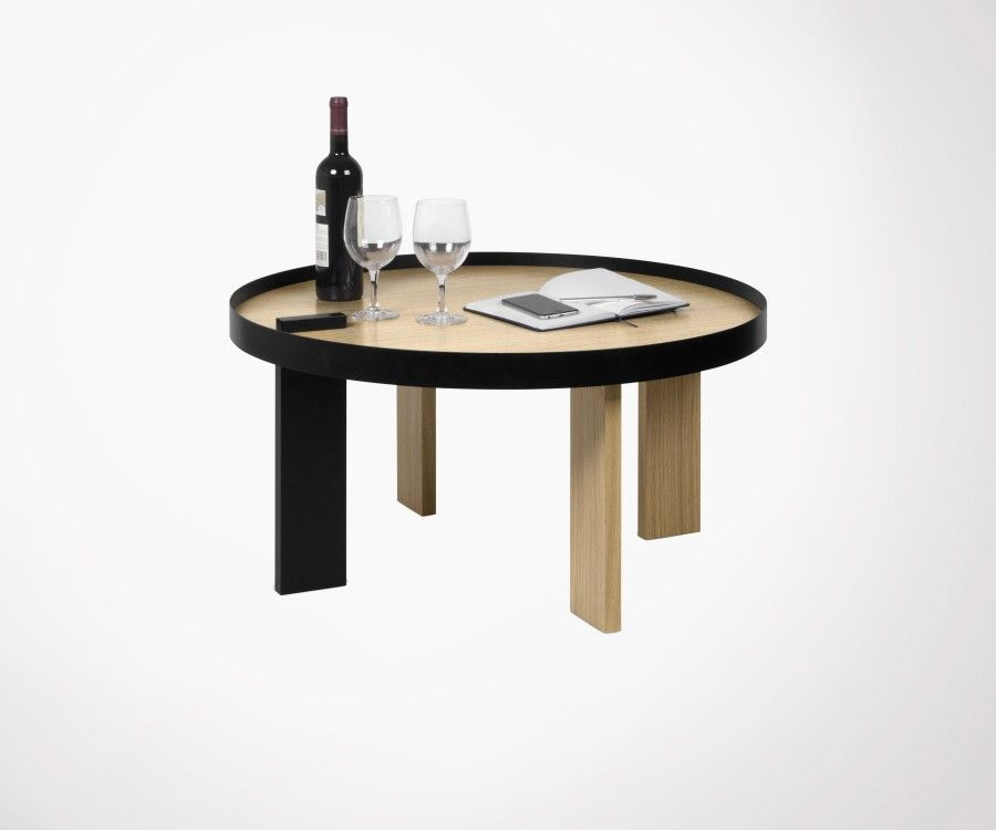 Round oak metal coffee table modern design by temahome for Coffee table 80cm x 80cm