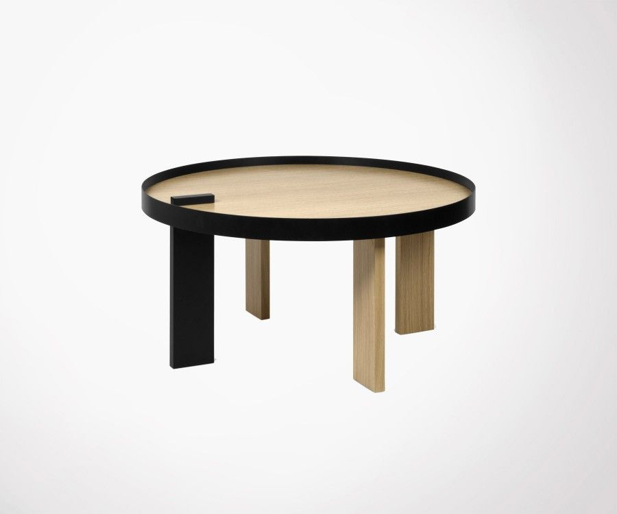table basse ronde ch ne naturel et m tal noir temahome. Black Bedroom Furniture Sets. Home Design Ideas