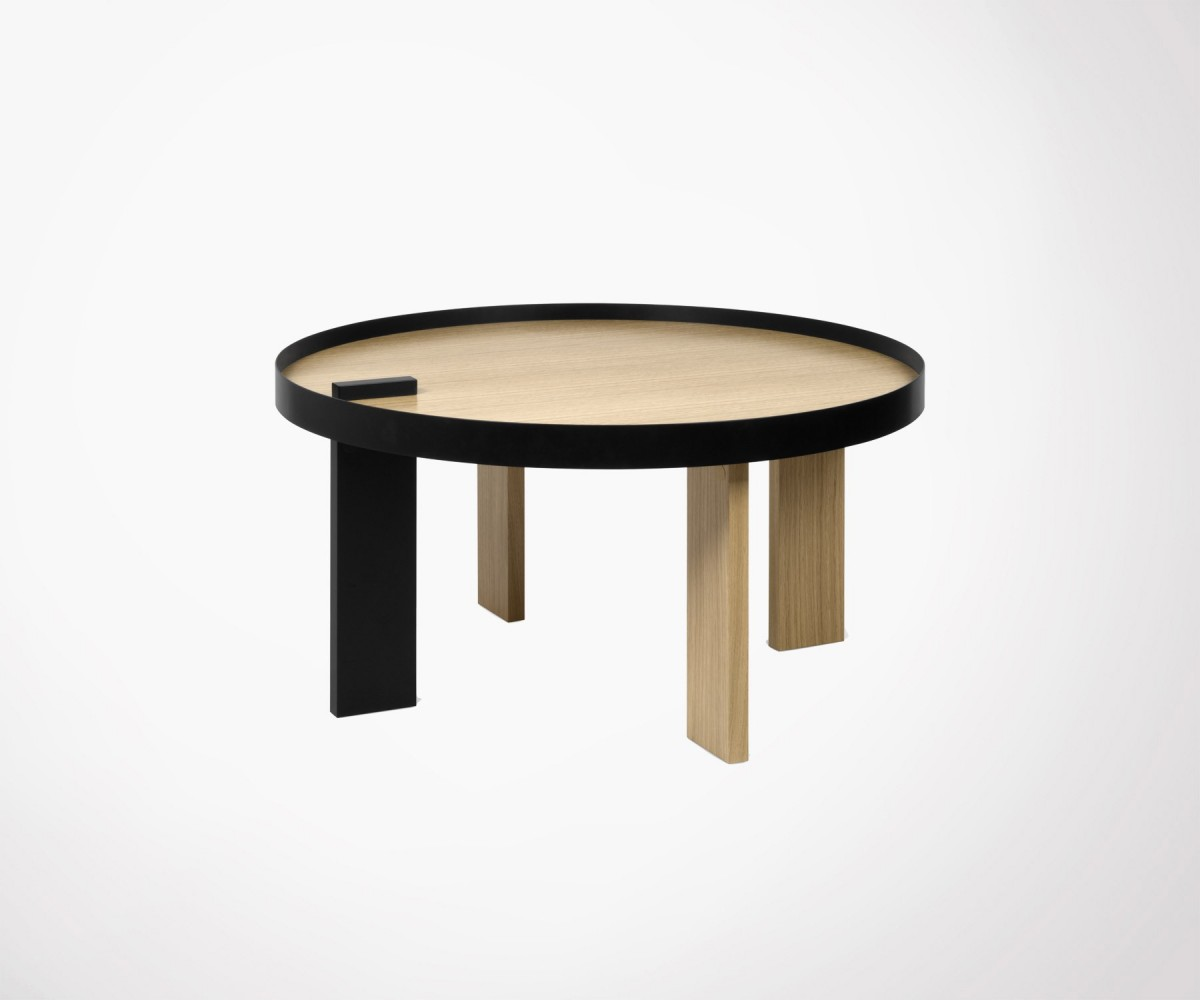 Table basse ronde ch ne naturel et m tal noir temahome for Table design ronde