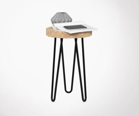 Small side table design cork metal DRUM - 29cm
