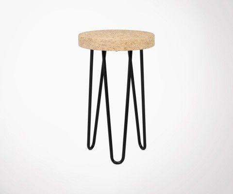 Petite table d'appoint design liège métal DRUM - 29cm