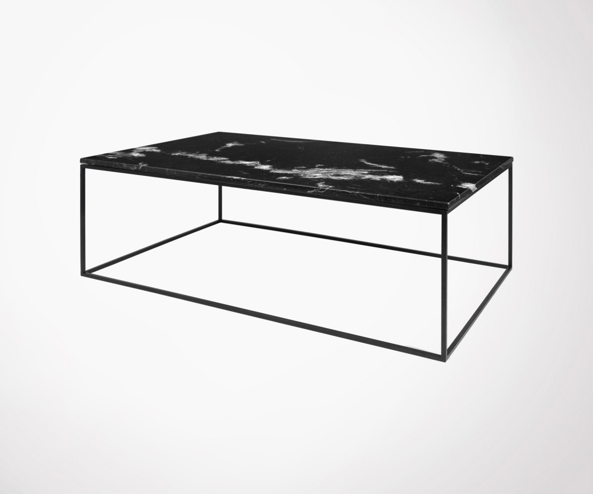 Large Coffee Table Black Or White Marble Top Black Metal Legs Temahome