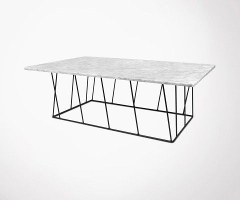Large black or white marble top coffee table - 120cm