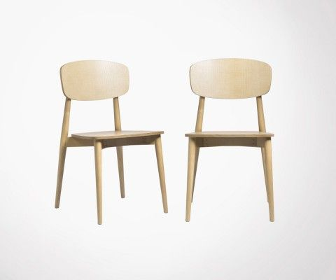 Set of 2 solid wood design scandinave dining chairs SALLY