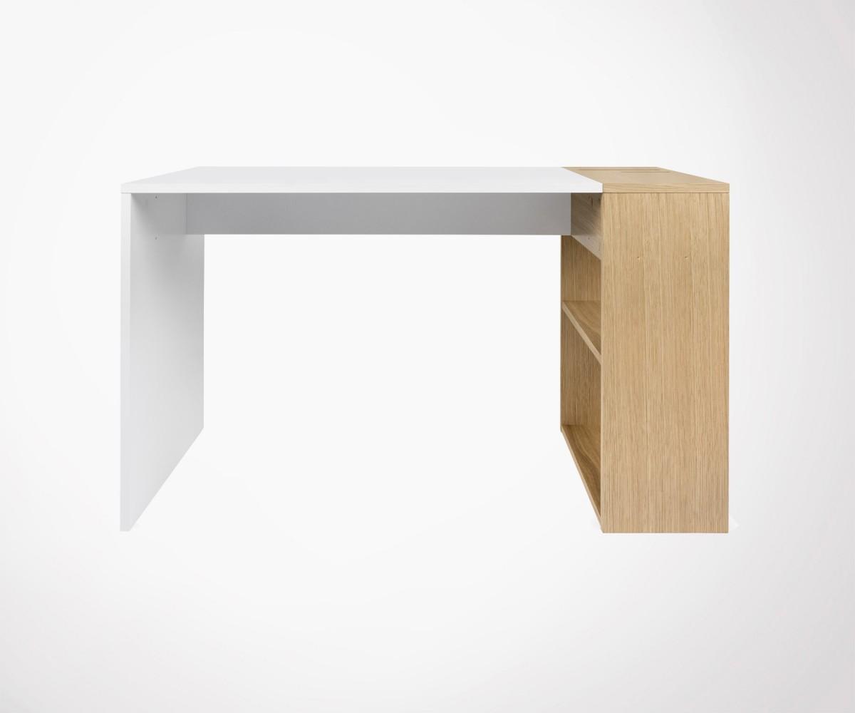 Petit bureau bois design moderne avec rangements - Bureau en bois moderne ...