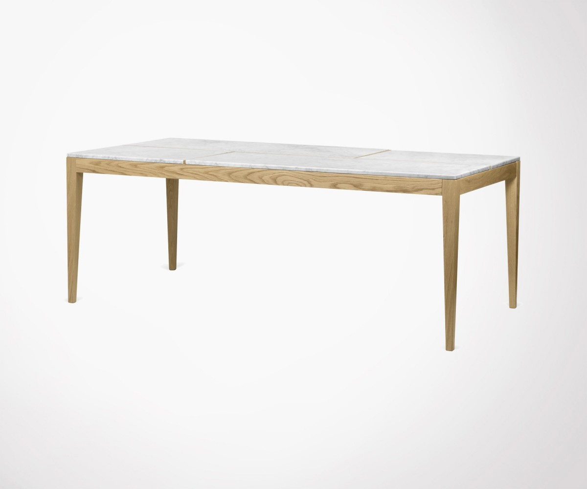 Large 201cm Dining Table White Marbre Top And Oak Legs Temahome