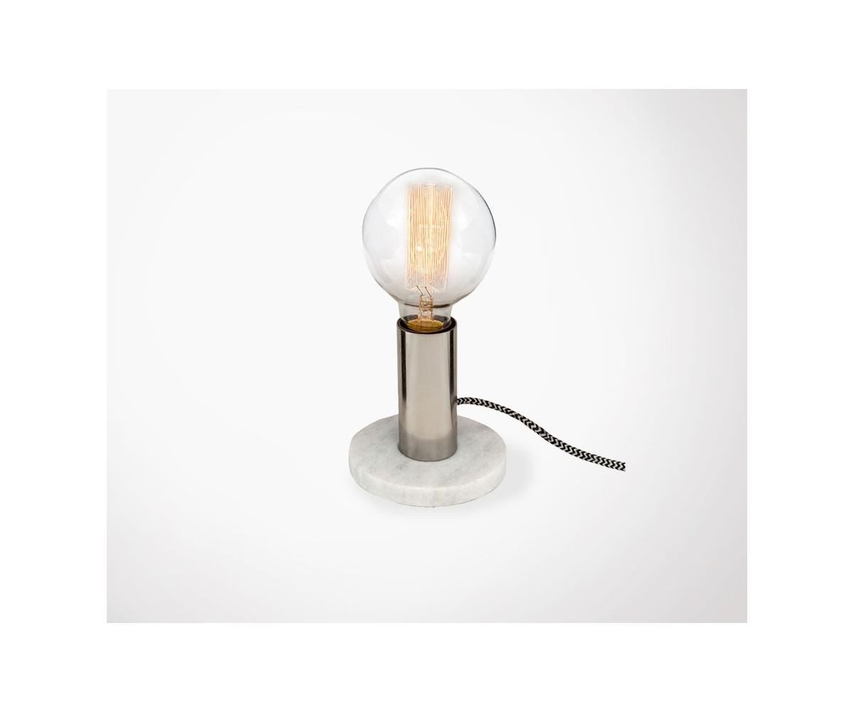 Lampe de bureau en marbre blanc for Lampe de bureau style industriel