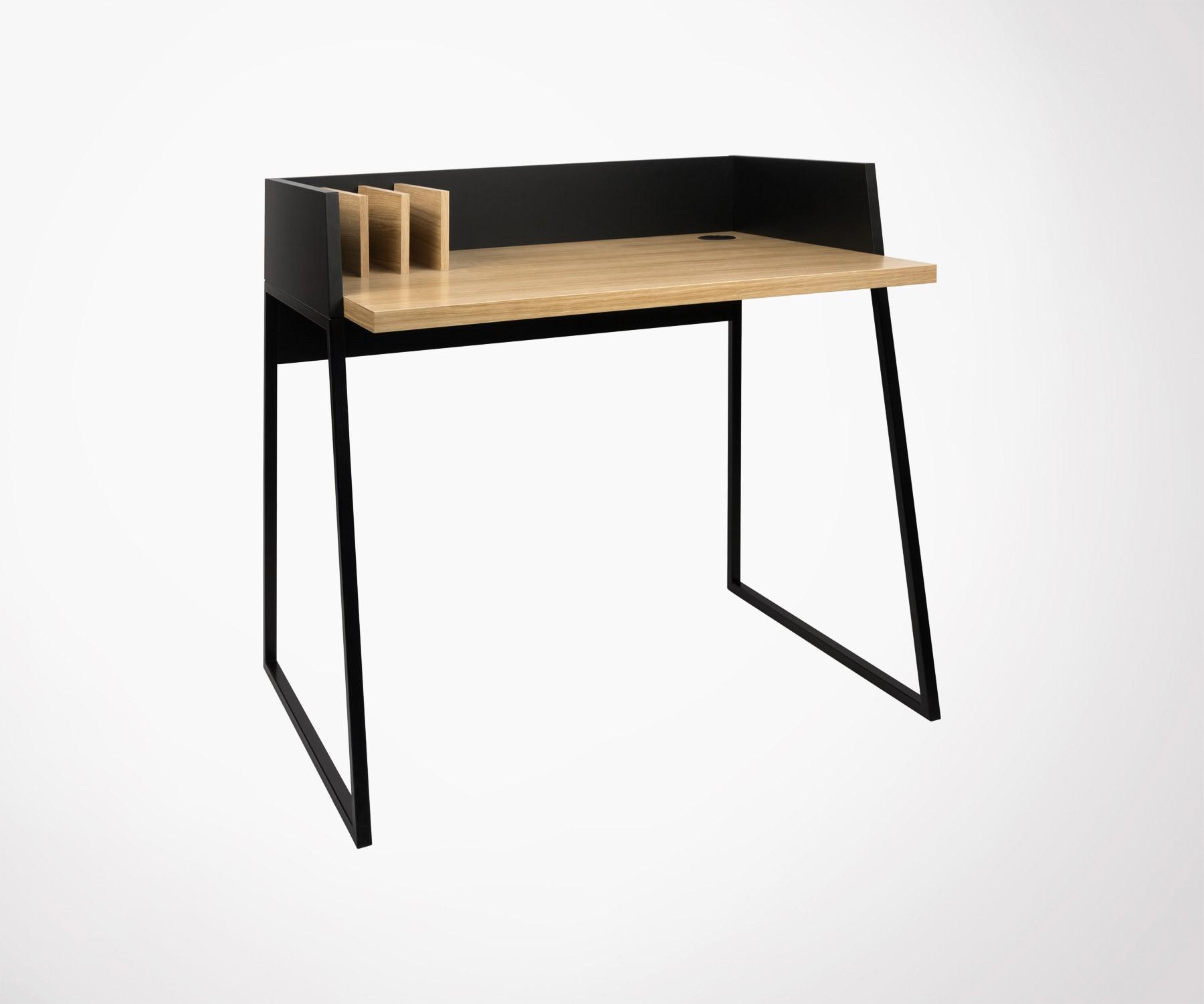 Petit Bureau Scandinave Design 90cm Bois Metal Temahome
