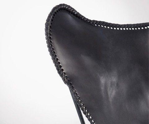 Chaise papillon cuir noir BALAK