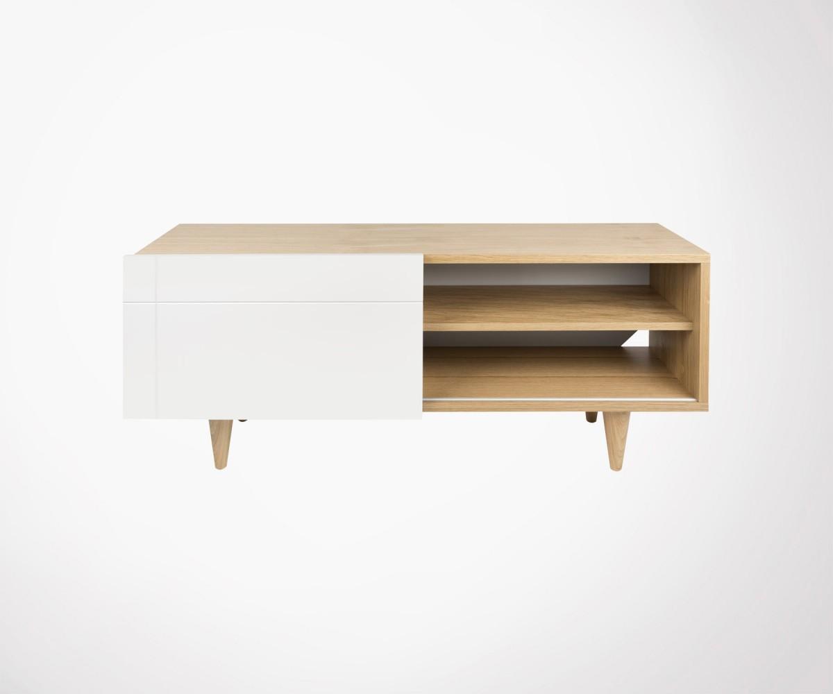 meuble tv scandinave bois de ch ne naturel et blanc laqu temahome. Black Bedroom Furniture Sets. Home Design Ideas