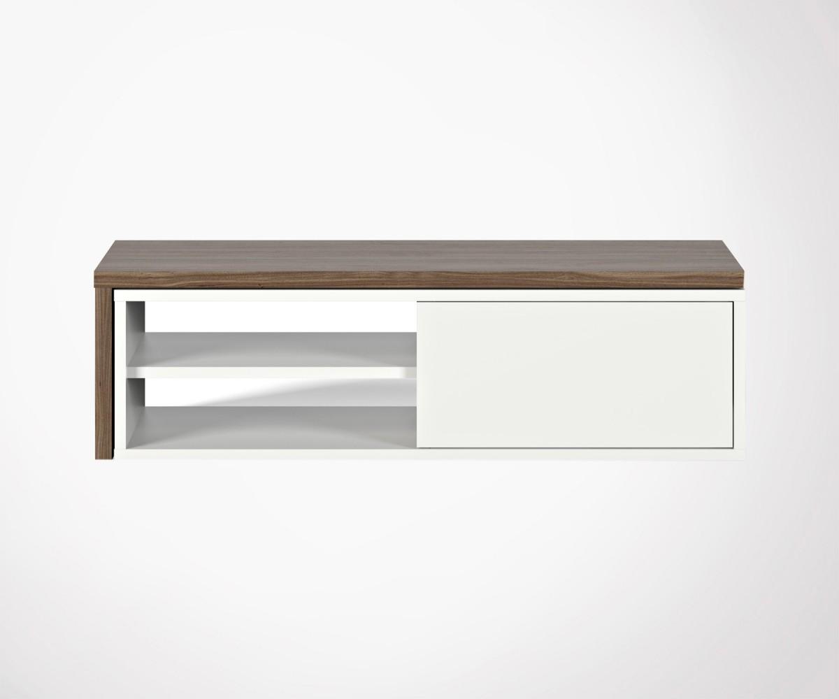 Meuble Tv Design Noyer Avec Plateau Amovible Temahome # Meuble Tv En Noyer