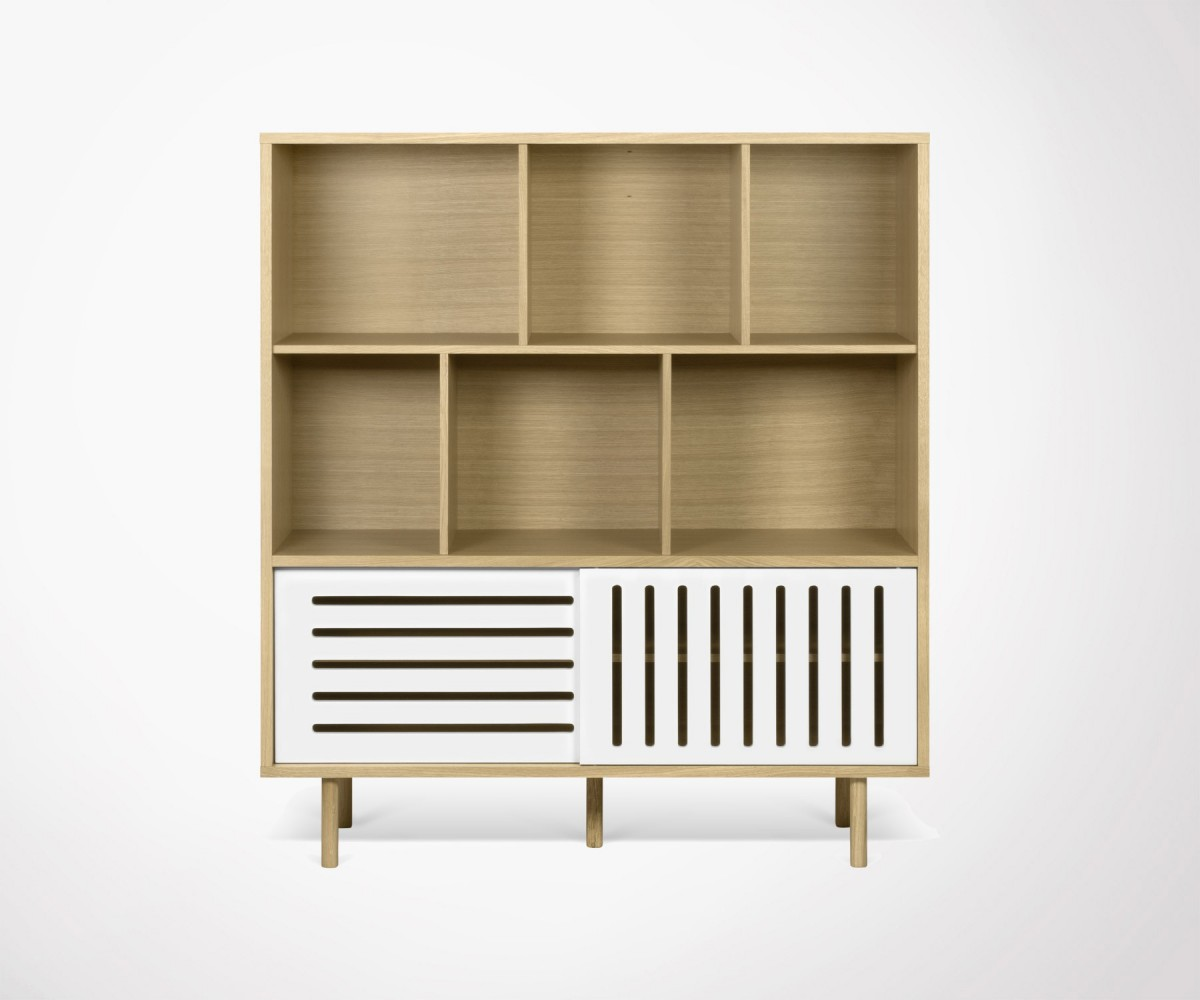 Buffet Design Scandinave Moderne Bois De Ch Ne Et Blanc Temahome # Meuble Scandinave Blanc Et Chene