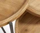 Trio tables basses plateau bois pieds métal AZARU
