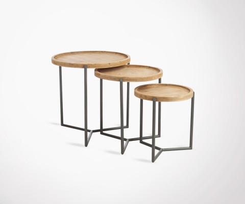 Tables gigognes industrielles plateau bois pieds métal AZARU