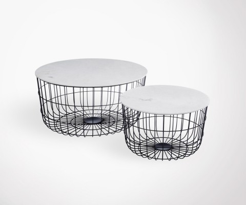 Set of 2 nesting tables white marble metal basket feet BASK
