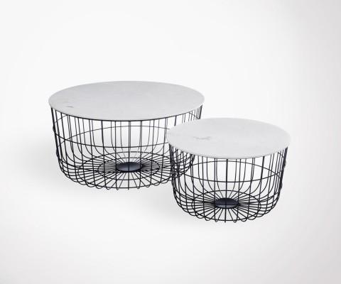 Tables gigognes marbre pieds métal panier BASK