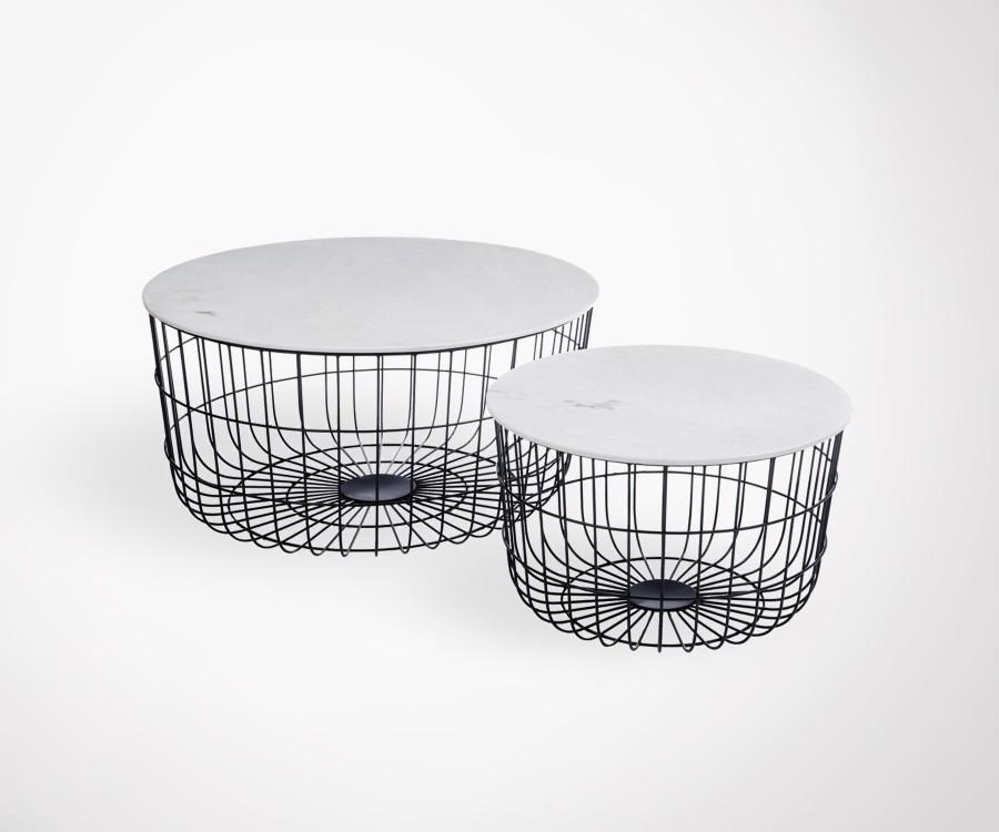 Duo tables basses plateau marbre pied panier BASK