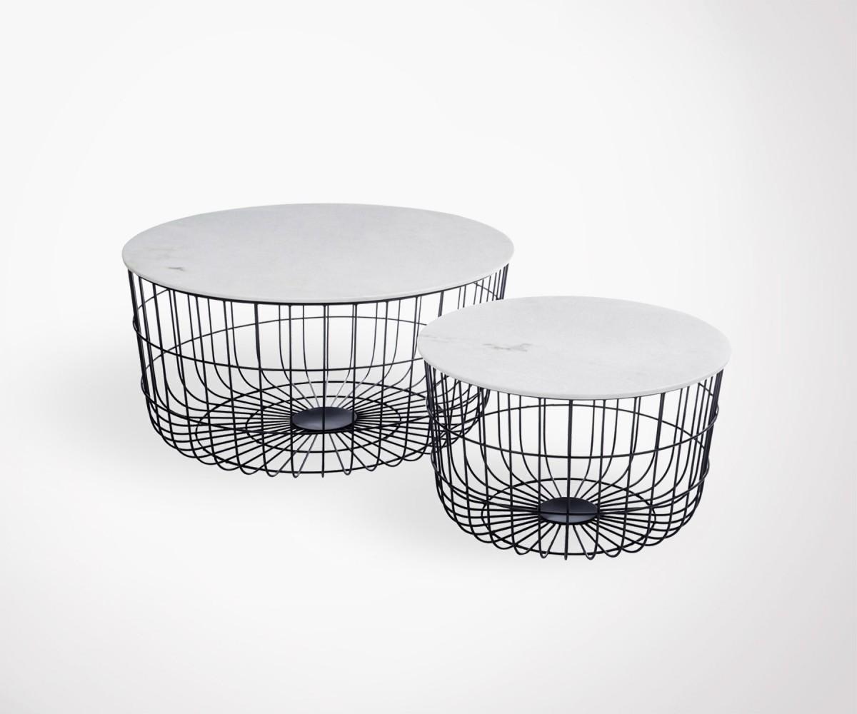 tables gigognes plateau marbre blanc pieds m tal noir. Black Bedroom Furniture Sets. Home Design Ideas