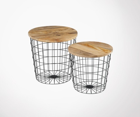 Nesting tables metal baskets and wood BASTEQ