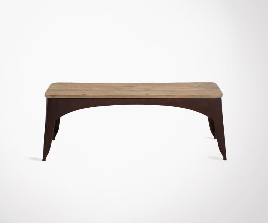 Banc style brut métal et bois BENITY - 117 cm