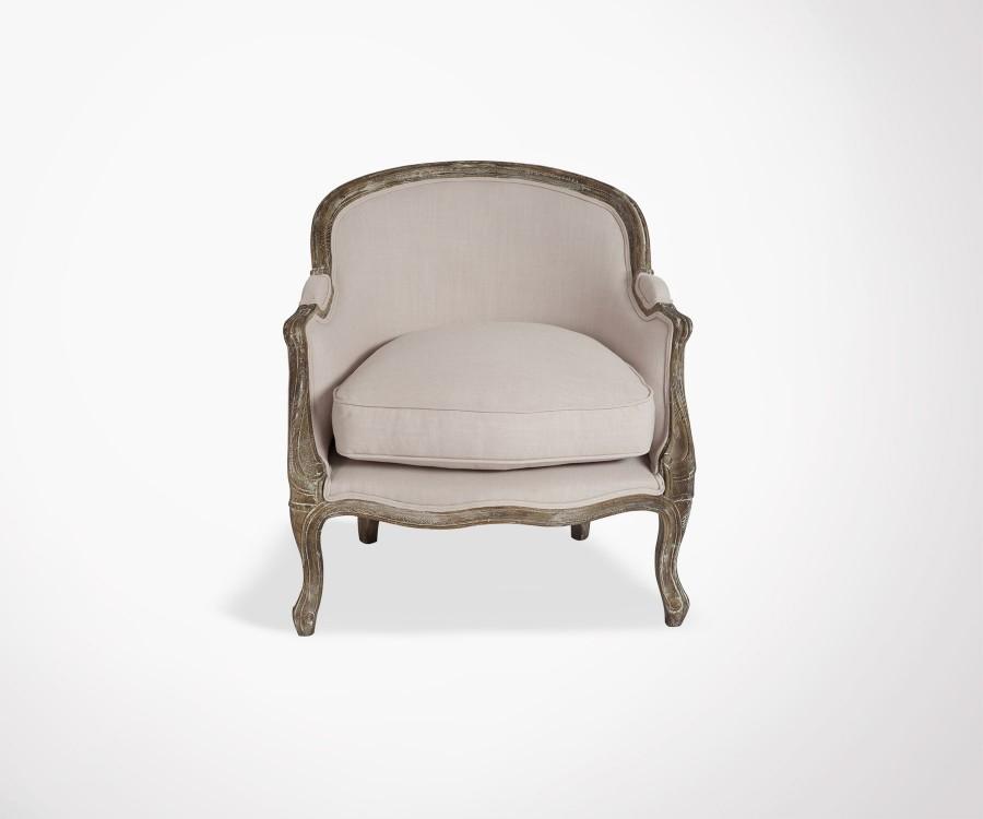 Fauteuil design style baroque tissu beige et bois de chªne massif