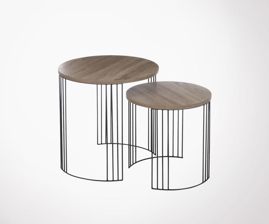 Lot 2 tables basses rondes bois naturel et métal BLAKER