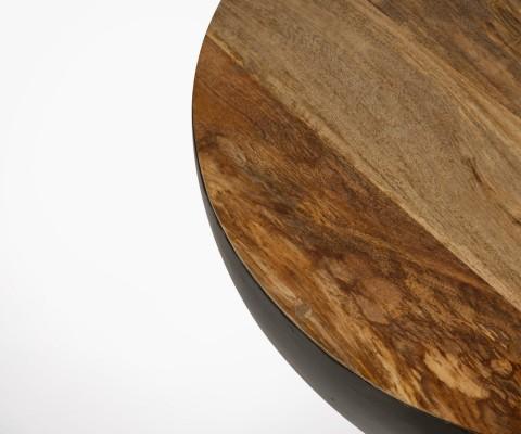 Table basse demi sphère métal et bois BOULD - 71 cm
