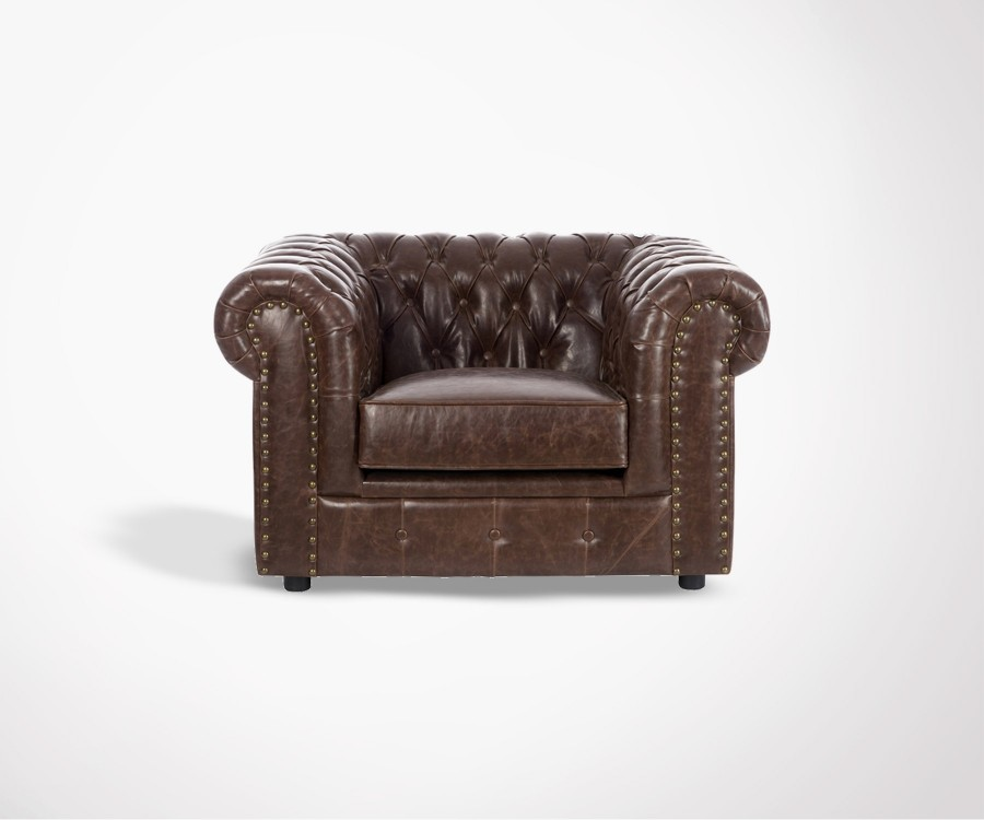 Fauteuil chesterfield simili cuir marron CAMDEN