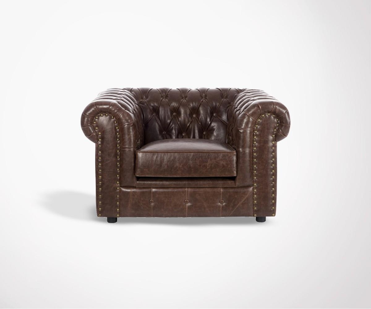 fauteuil chesterfield simili cuir marron fonc livraison. Black Bedroom Furniture Sets. Home Design Ideas