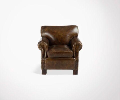 Fauteuil lounge cuir marron CAPRIO