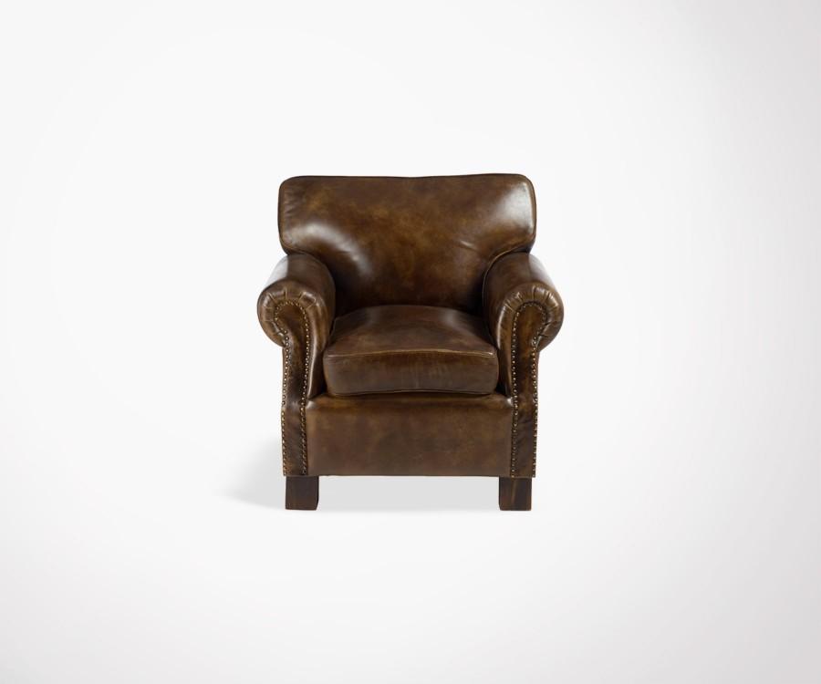 Fauteuil club cuir style vintage couleur marron J Line