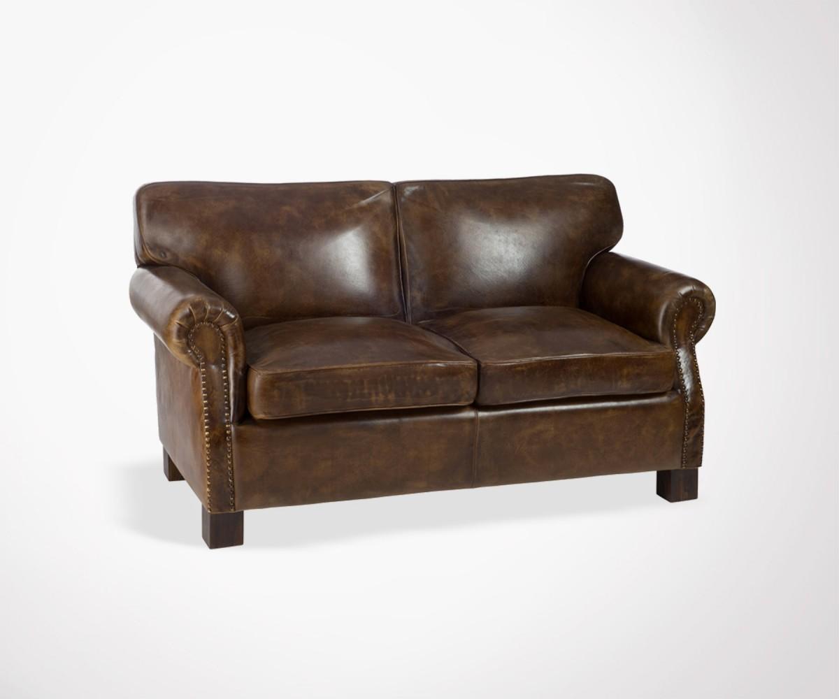 Canape Club Sofa Vintage Cuir Marron Vieilli 2 Places J Line
