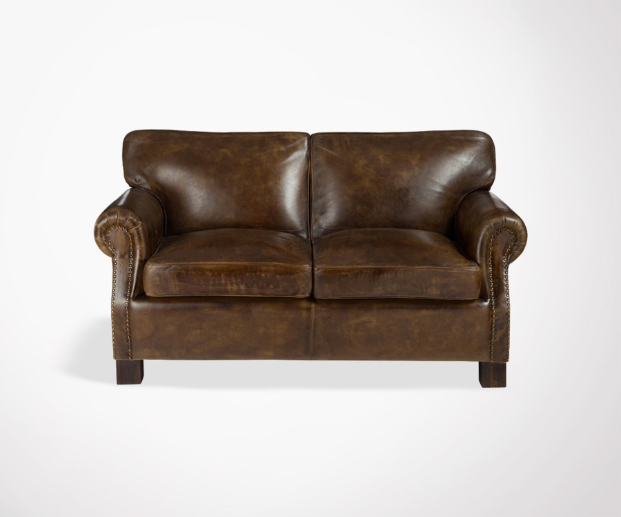 Sofa 2 Places Cuir Marron Caprio
