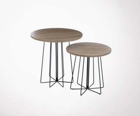 Set 2 tables gigognes rondes style industriel COGNER