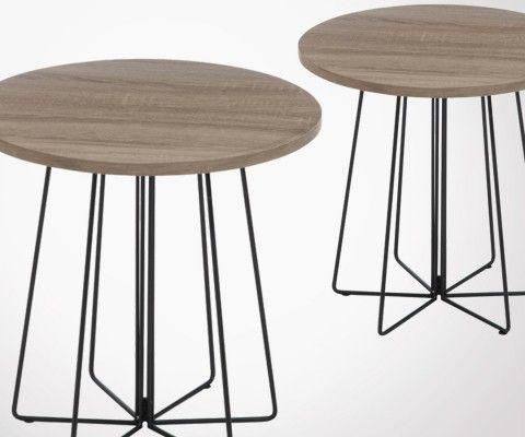 Set 2 tables gigognes rondes style industriel COGNER
