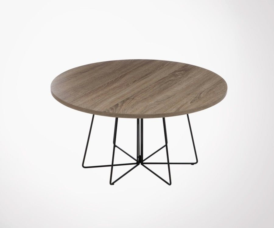 Large 80cm wood and metal coffee table industrial style for Table basse scandinave ronde copenhague 80