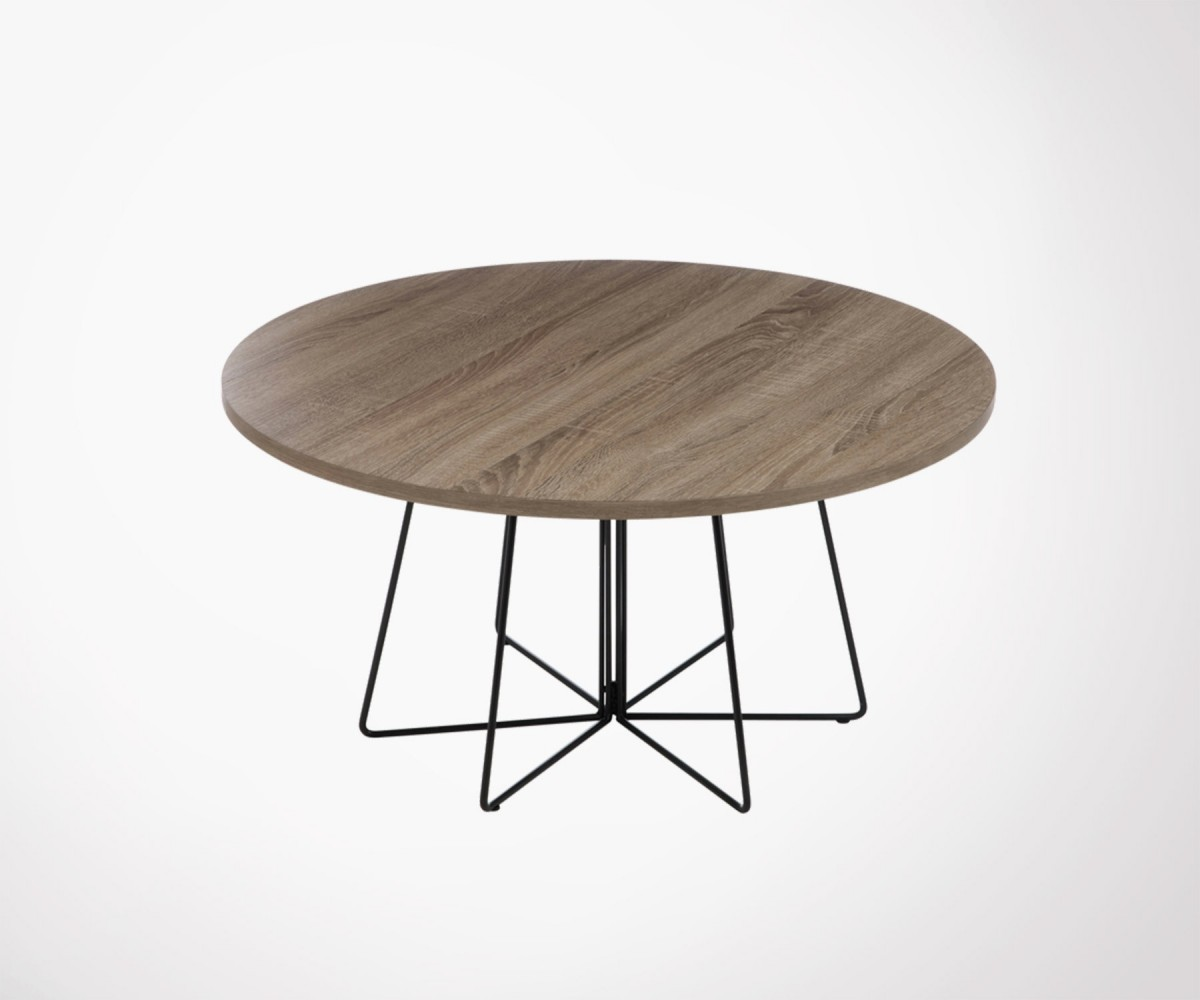 table basse ronde bois et m tal 80cm style industriel. Black Bedroom Furniture Sets. Home Design Ideas