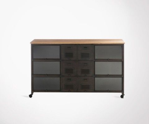 console bois 3 tiroirs style moderne et scandinave 105cm j line. Black Bedroom Furniture Sets. Home Design Ideas