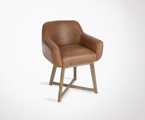 Brown leather side chair CRIX