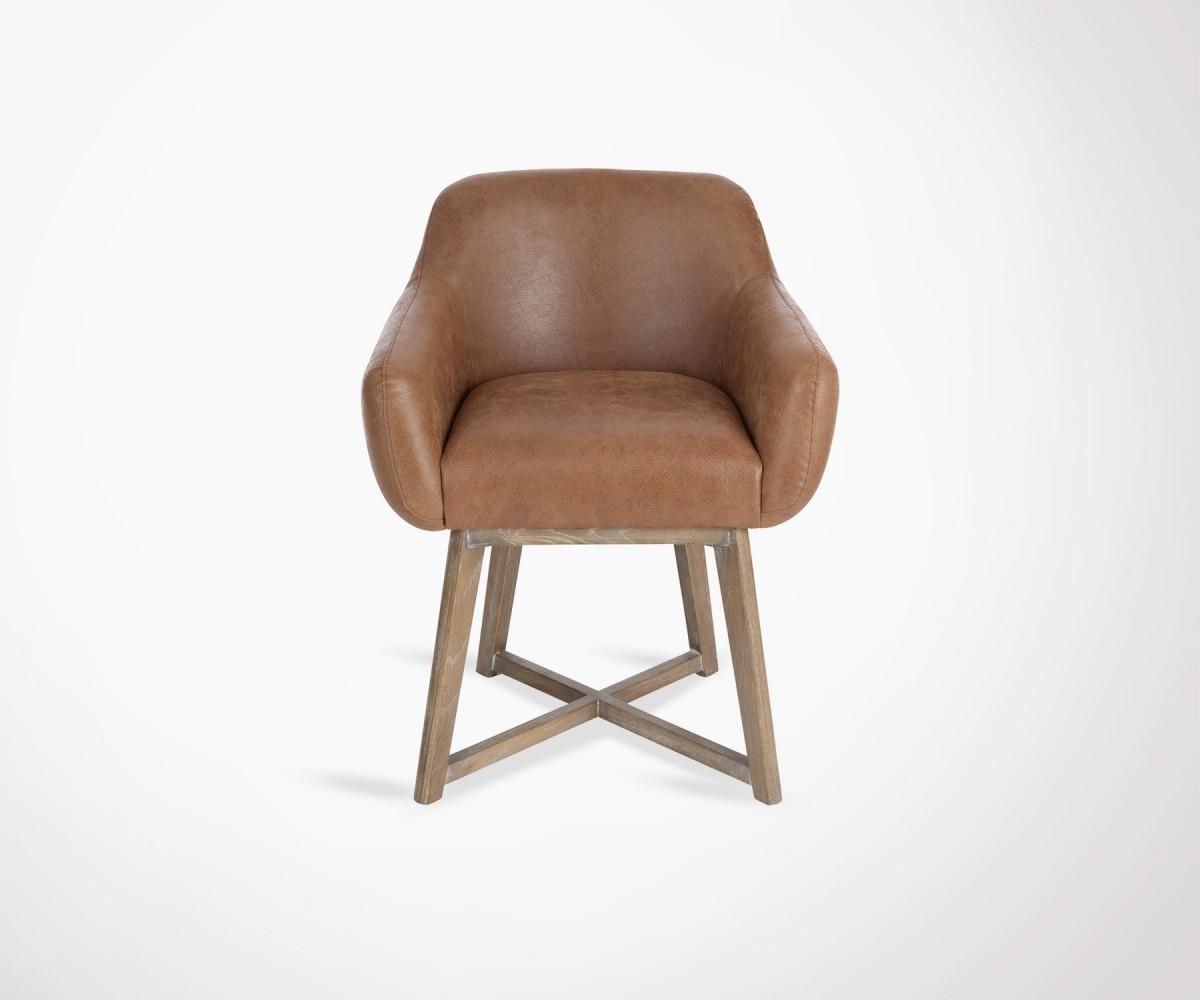 Chaise design lounge en cuir marron et pi tement bois for Chaise cuir marron