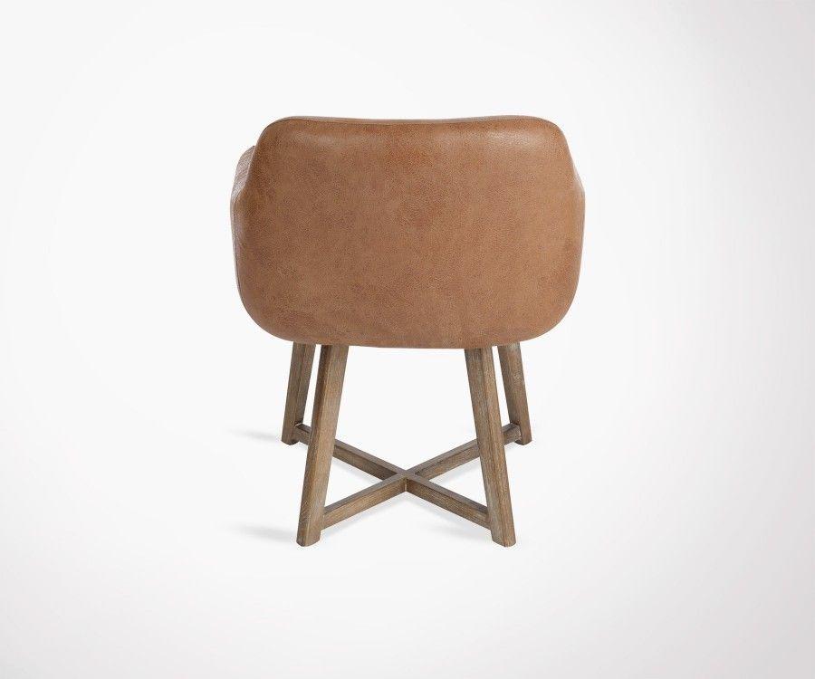 Chaise d'appoint cuir marron CRIX