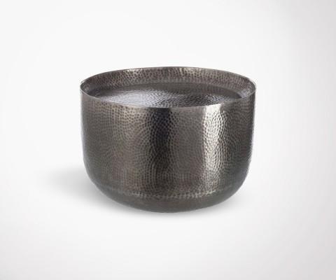 Petite table basse martelée ronde aluminium gris CUPOP - 50 cm