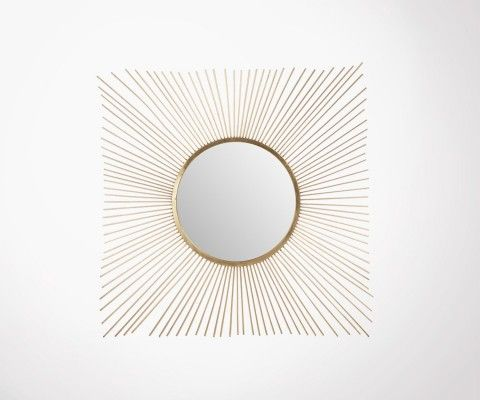 Square mirror design art deco gold metal DIFUSA - 102 cm