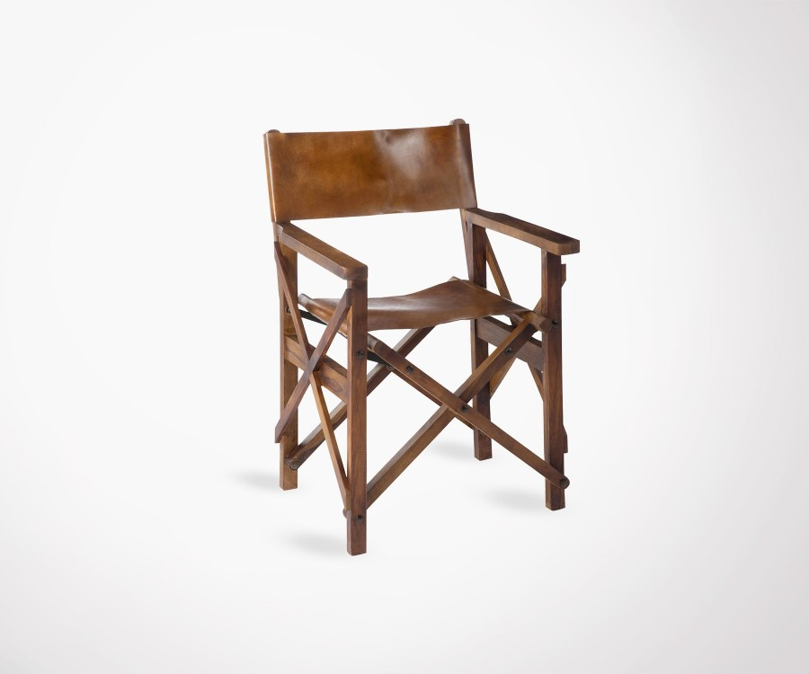 chaise r alisateur pliante pin massif cuir vachette. Black Bedroom Furniture Sets. Home Design Ideas