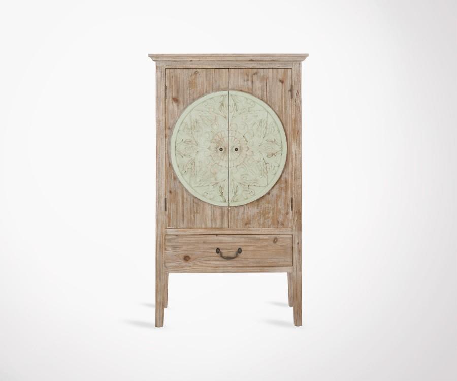 Armoire bois naturel et menthe 2 portes 1 tiroir DISCOVER
